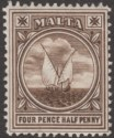 Malta 1905 King Edward VII Fishing Boat 4½d Brown Mint SG57 cat £40