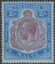 Malta 1914 KGV 2sh Purple and Blue on Blue wmk Multi Crown CA Mint SG86 cat £50