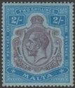Malta 1922 KGV 2sh Purple and Blue on Blue wmk Script Mint SG103 cat £70