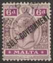 Malta 1922 KGV Self Government 6d Dull and Bright Purple wmk Script Used SG119
