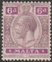 Malta 1921 KGV 6d Dull and Bright Purple wmk Script Mint SG102
