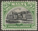 Malta 1930 KGV Postage and Revenue 5sh Black and Green Mint SG208