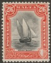Malta 1930 KGV Postage and Revenue 2sh6d Black and Vermilion Mint SG206