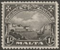 Malta 1930 KGV Postage and Revenue 1sh Black Mint SG203
