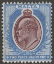 Malta 1904 KEVII 2½d Maroon and Blue wmk Multi CA Mint SG52