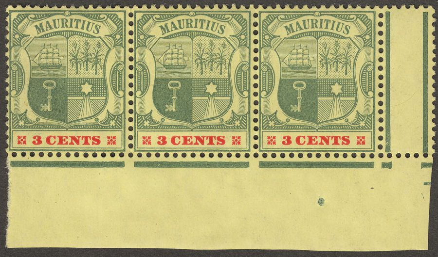 Mauritius 1904 KEVII 3c Green and Carmine wmk Multi CA strip of 3 Mint SG166
