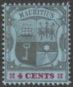 Mauritius 1904 KEVII 4c Black and Carmine on Blue wmk Multi CA Mint SG167