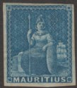 Mauritius 1858 QV Britannia Blue Imperf Unissued Mint SG31 cat £13