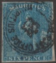 Mauritius 1859 QV Britannia 6d Blue Imperf Used SG32 cat £55 with Four Margins