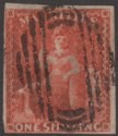 Mauritius 1859 QV Britannia 1sh Vermilion Imperf Used SG34 cat £70 with thin