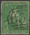 Mauritius 1861 QV Britannia 1sh Yel-Green Imperf Used SG35 cat £150 four margins