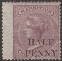 Mauritius 1879 QV ½d Surcharge on 9d Dull Purple Unused SG76 cat £27 as mint