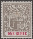 Mauritius 1902 KEVII 1r Grey-Black and Carmine Mint SG153 cat £65