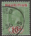 Mauritius 1921 KGV 10r Green and Red on Emerald Used SG204d cat £200 faults