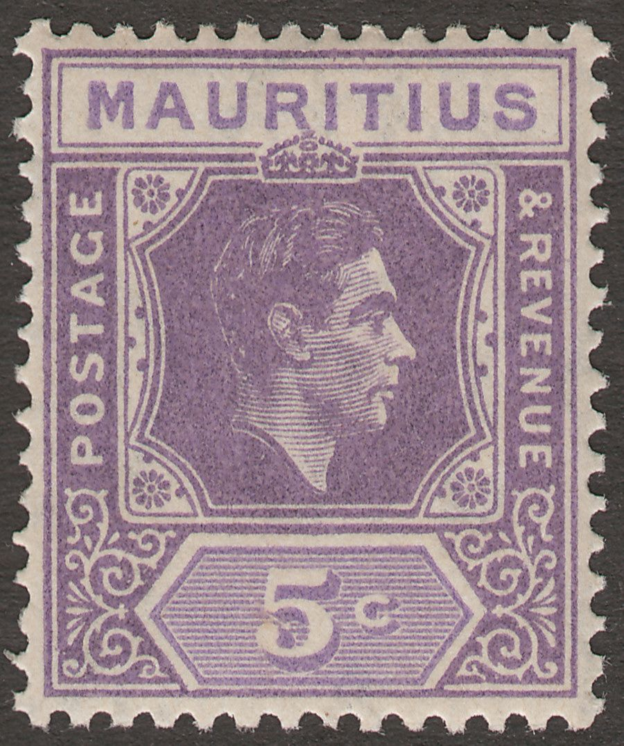 Mauritius 1942 KGVI 5c Dull Lavender and Lavender Mint SG255 var