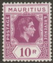 Mauritius 1943 KGVI 10r Reddish Purple Ordinary Paper Mint SG263a