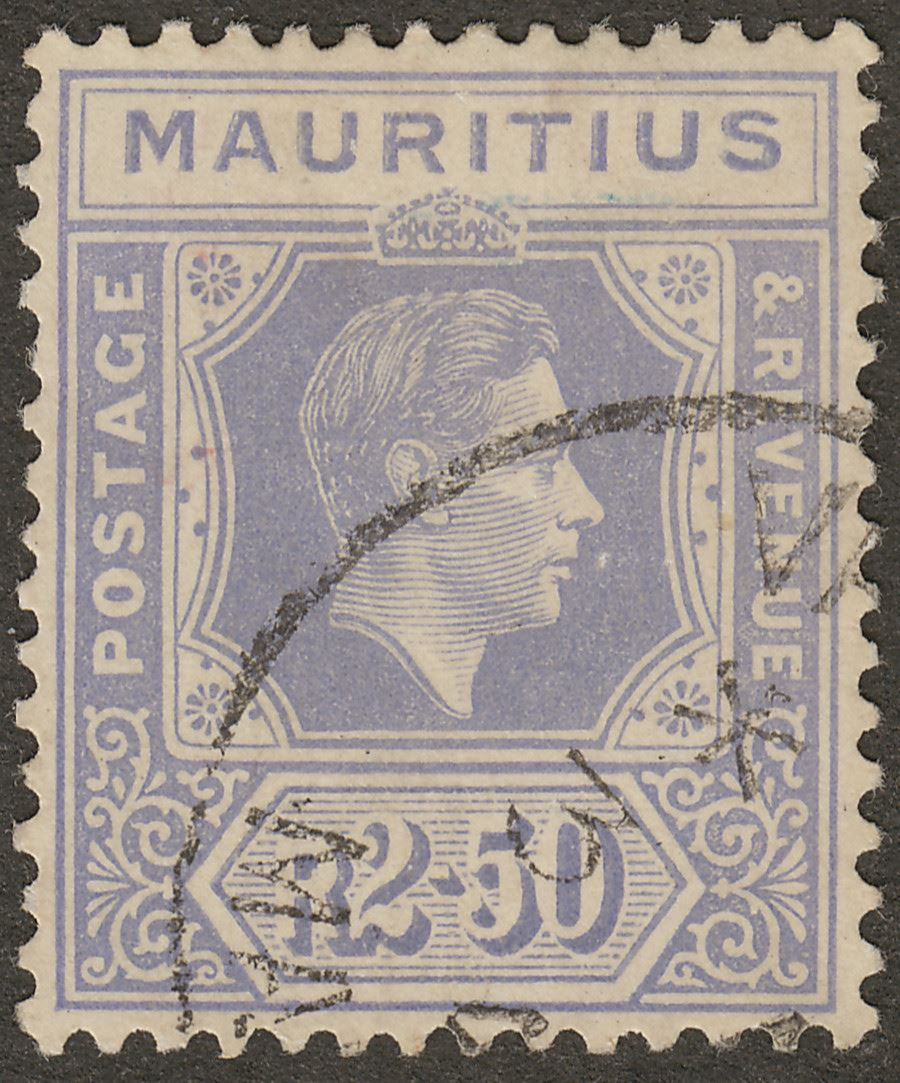 Mauritius 1938 KGVI 2r50c Pale Violet Chalky Paper Used SG261