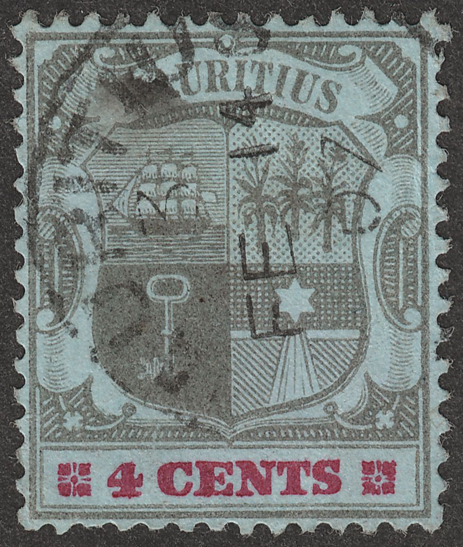 Mauritius 1904 KEVII 4c Black + Carmine on Blue wmk Crwn CA Inverted Used SG143w
