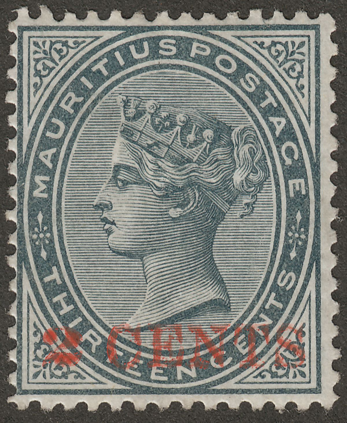 Mauritius 1887 QV 2c on 13c Slate Surcharge Unused SG117 cat £75 as mint