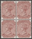 Mauritius 1883 QV 2c Venetian Red watermark Crown CA Block of Four Mint SG102