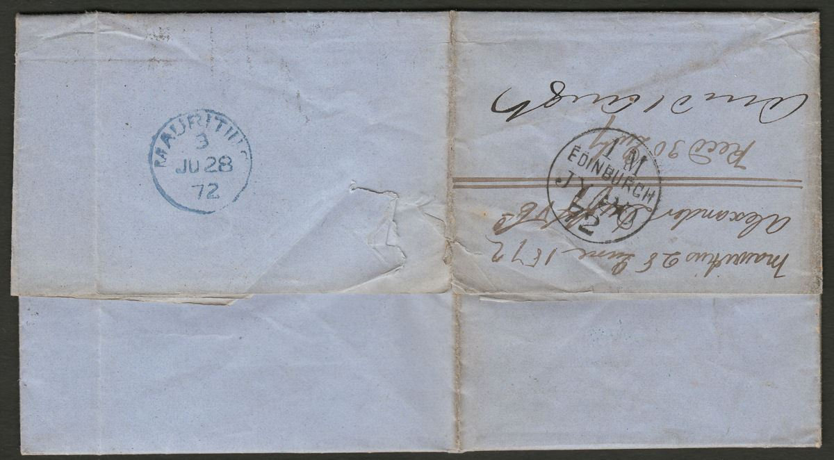 Mauritius 1872 QV era Wrapper to UK with stamps removed via Aden and Brindisi