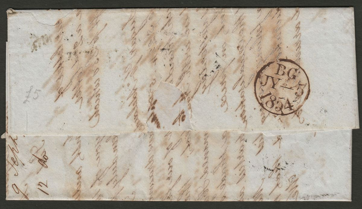 Mauritius 1854 Incoming Entire from London w Packet Letters Oval stamp removed