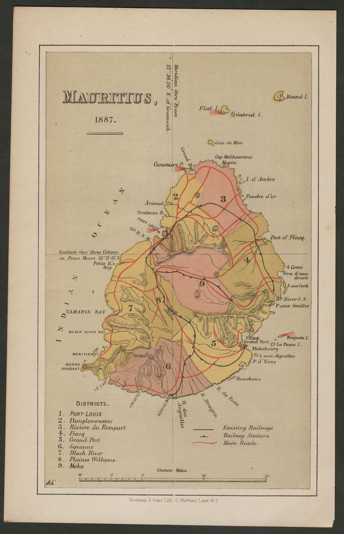 Mauritius 1887 Colour Map Printed by Harrison & Sons showing Roads + Railways
