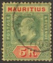 Mauritius 1910 KEVII 5r Green and Red on Yellow Used SG194 cat £95