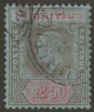 Mauritius 1910 KEVII 2r50c Black and Red on Blue Used SG193 cat £75 faults