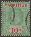 Mauritius 1910 KEVII 10r Green and Red on Green Used SG195 cat £325 faults