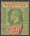 Mauritius 1924 KGV 5r Green and Red on Yellow Used SG240 cat £110