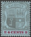 Mauritius 1904 KEVII 4c Black and Carmine on Blue wmk Crown CA Mint SG143