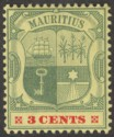 Mauritius 1904 KEVII 3c Green and Carmine on Yellow wmk Multi CA Mint SG166