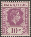 Mauritius 1938 KGVI 10r Reddish Purple variety Damage to Keyplate Mint SG263var