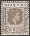 Mauritius 1943 KGVI 1r Grey-Brown Ordinary Paper Mint SG260b