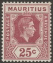 Mauritius 1938 KGVI 25c Brown-Purple Chalky Paper Mint SG259