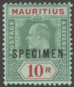 Mauritius 1910 KEVII 10r Green and Red on Green Specimen SG195s