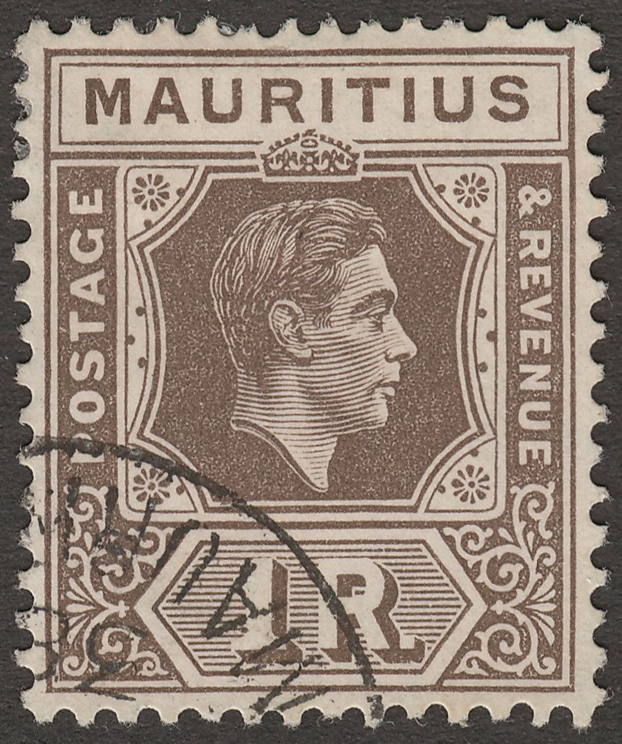 Mauritius 1938 KGVI 1r Grey-Brown Chalky Paper Used SG260