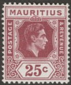 Mauritius 1943 KGVI 25c Brown-Purple Ordinary Paper Mint SG259b