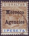 Morocco Agencies 1899 QV Overprint on Gibraltar 1p Bistre and Ultra Used SG15