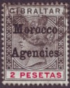 Morocco Agencies 1899 QV Overprint on Gibraltar 2p Black and Carmine Used SG16