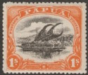Papua 1910 Large Papua Lakatoi 1sh Black and Deep Orange Mint SG81