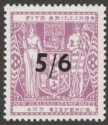 New Zealand 1940 wmk Single Postal Fiscal 5sh6d Opt Lilac Mint SG F188