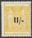 New Zealand 1942 wmk Multi Postal Fiscal 11sh Opt Yellow Mint SG F215