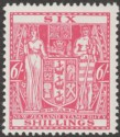 New Zealand 1940 wmk Multi Upright Postal Fiscal 6sh Carmine-Rose Mint SG F196