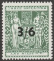 New Zealand 1940 wmk Single Postal Fiscal 3sh6d Opt Grey-Green Mint SG F187