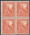 New Zealand 1936 KGV Maori Carved House 2d Orange Block of 4 Mint SG580
