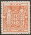 New Zealand 1936 KGV Postal Fiscal 9sh Wiggins Teape wmk Single Mint SG F176
