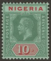 Nigeria 1915 KGV 10sh Green and Red on Blue-Green Mint SG11a