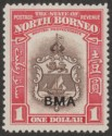 North Borneo 1945 KGVI Badge BMA Overprint $1 Mint SG332